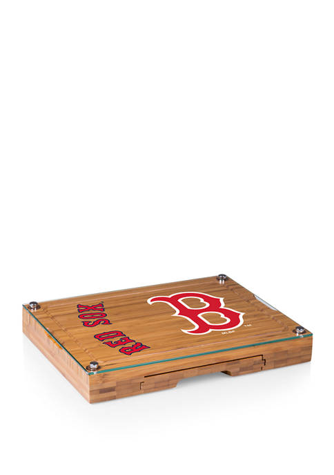 MLB Boston Red Sox Concerto Glass Top Cheese Cutting Board & Tools Set