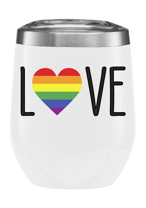Pride Love Stainless Steel Insulated 11 Ounce Stemless Wine Tumbler with Lid