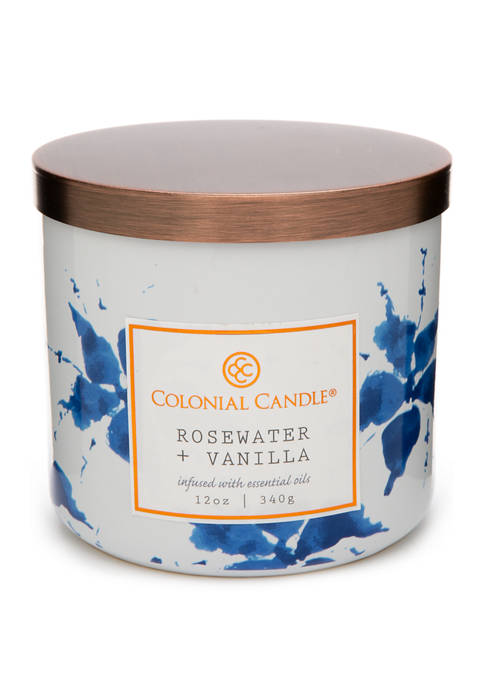 12 Ounce Indigo Candle - Rosewater/Vanilla