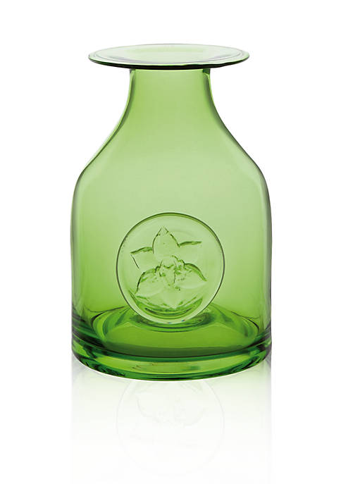 Dartington Crystal Lily Green Flower Bottle