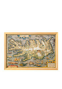 Map of Iceland Framed Giclee Print - Online Only