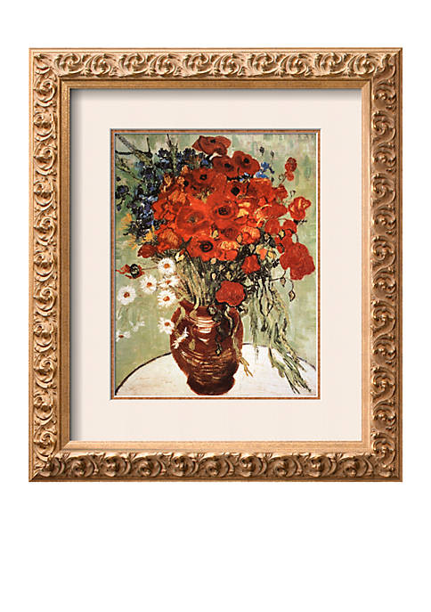 Art.com Vase with Daisies and Poppies, Framed Art