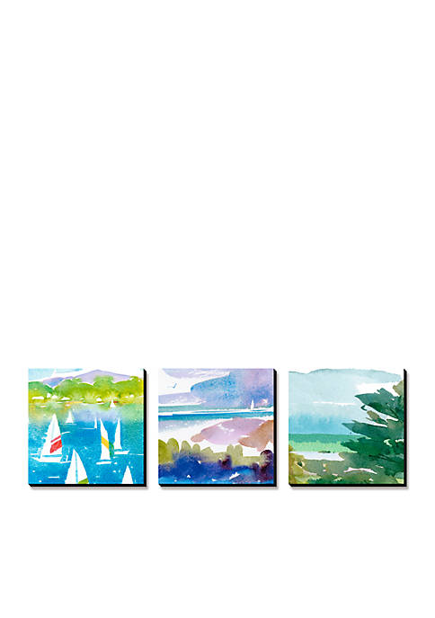 Art.com Sailboats and Lake I Triptych, Canvas Art