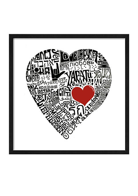 Art.com Love in 44 Languages, Framed Art Print