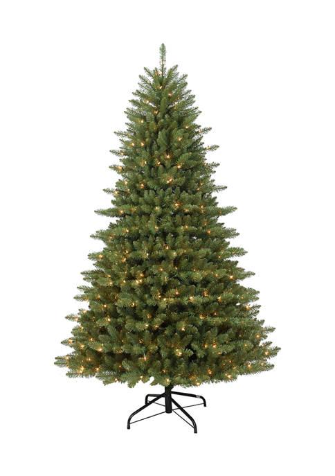 Santa's Workshop 7.5 Foot Pre-Lit Cascade Pine Tree