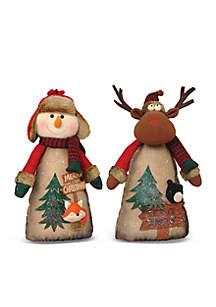 16-inch Timber Folk Snowman Reindeer