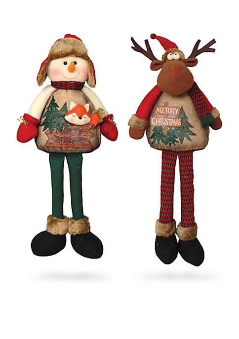 Santa's Workshop Dancing Timber Folk Reindeer Snowman