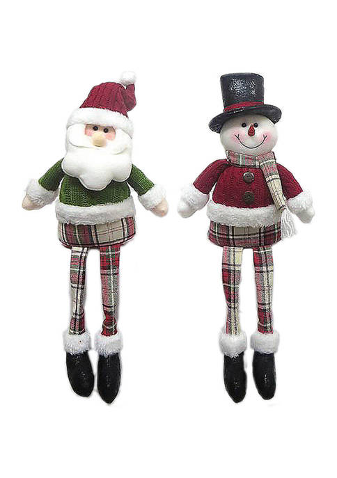 Santa's Workshop 17 Inch Sitting Plaid Guys, 2