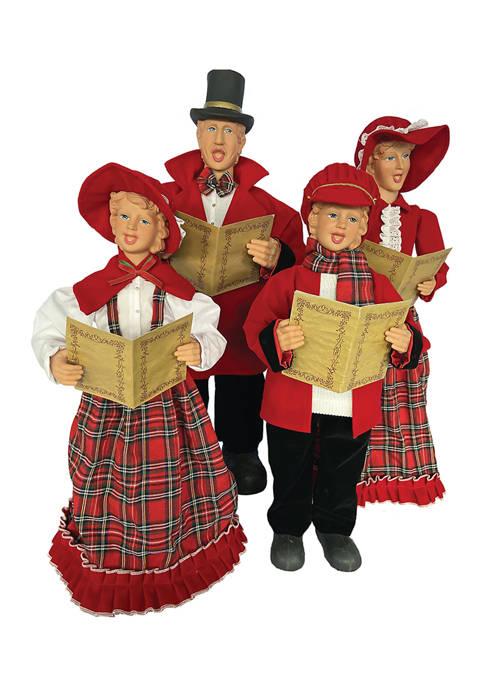 Set of 4 Red Plaid Carolers