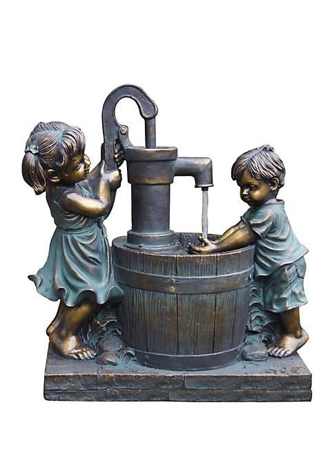 Santa's Workshop Boy and Girl Pump Fountain