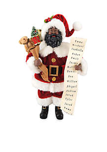 12-in. African American Santa with List