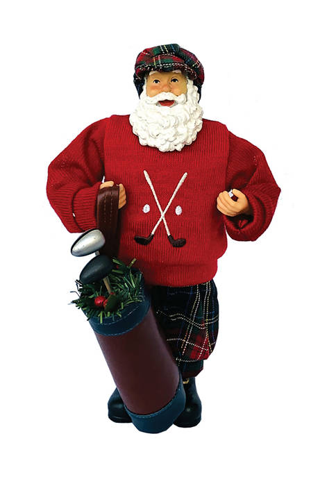 Santa's Workshop 12 Inch Red Sweater Golfing Claus