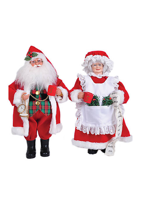 Santa's Workshop 15-in.L MR. and Mrs. Claus ,Set