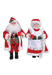 15-in.L MR. and Mrs. Claus ,Set Of 2