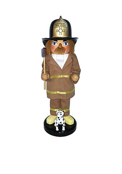 "Santa's Workshop 14"" Fireman and Dalmatian Nut Cracker"