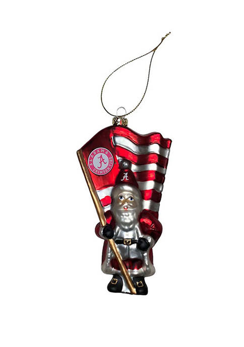 6 Inch Glass Alabama State University Santa with Flag Ornament
