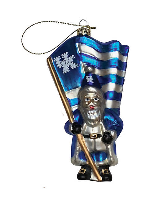 6 inch NCAA Kentucky Wildcats Glass Santa with Flag Ornament