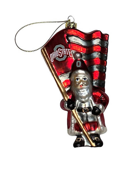 6 inch NCAA Ohio State Buckeyes Glass Santa with Flag Ornament