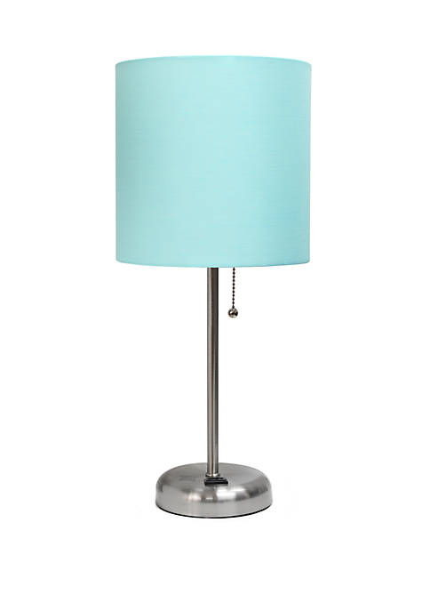 Stick Lamp with Charging Outlet and Fabric Shade