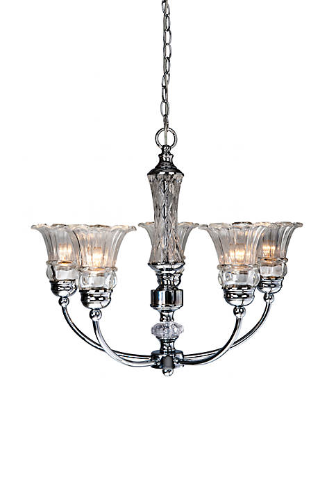Five Light Glass Ceiling Glacier Petal Chandelier