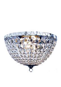Elegant Designs Two Light Victoria Crystal Rain Drop Flushmount Ceiling Light