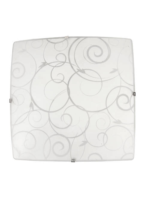 Simple Designs Square Flushmount Ceiling Light With Scroll