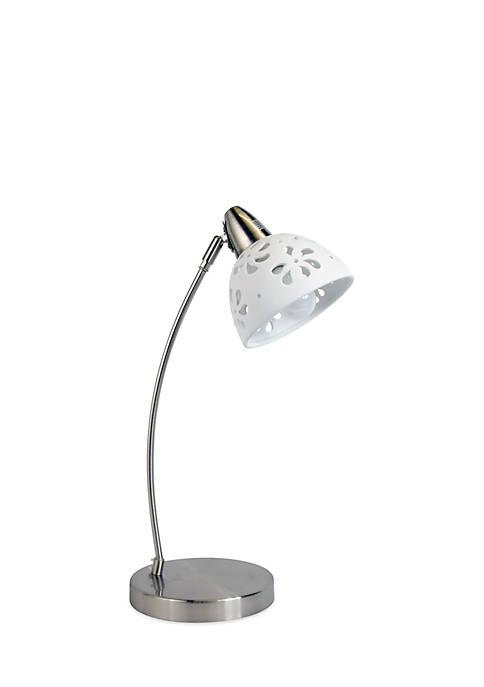 Simple Designs Brushed Nickel Desk Lamp With Porcelain