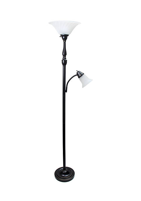 2 Light Mother Daughter Floor Lamp with White Marble Glass, Restoration Bronze