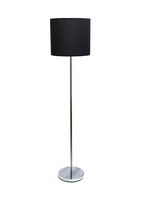 Simple Designs Brushed Nickel Drum Shade Floor Lamp