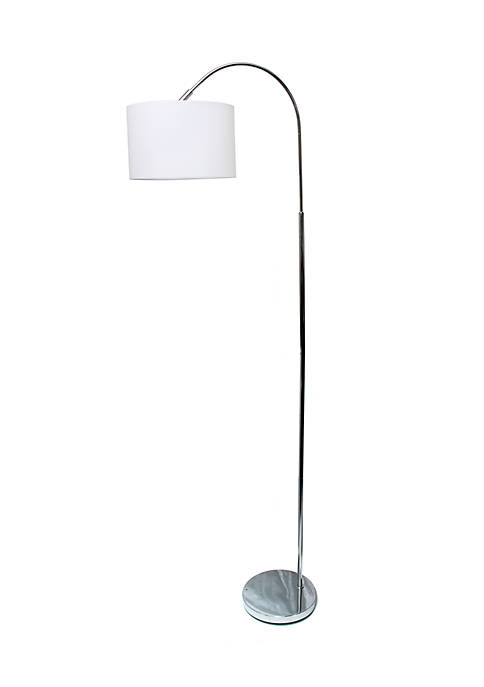Simple Designs Arched Brushed Nickel Floor Lamp, White