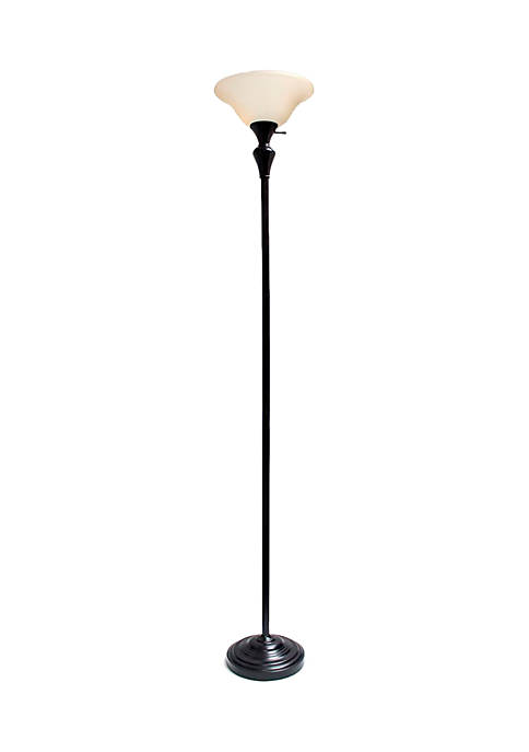 Elegant Designs 1 Light Torchiere Floor Lamp With Frosted Plastic Shade