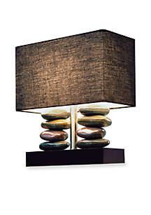 Rectangular Dual Stacked Stone Ceramic Table Lamp