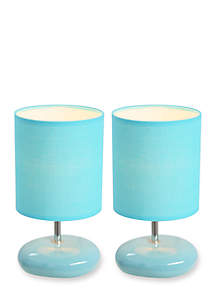 Small Stone-Look Bedside Table Lamp - Set Of 2