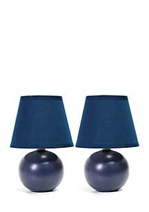 Mini Ceramic Globe Table Lamp - Set Of 2