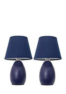 Simple Designs Mini Egg Oval Ceramic Table Lamp - Set Of 2