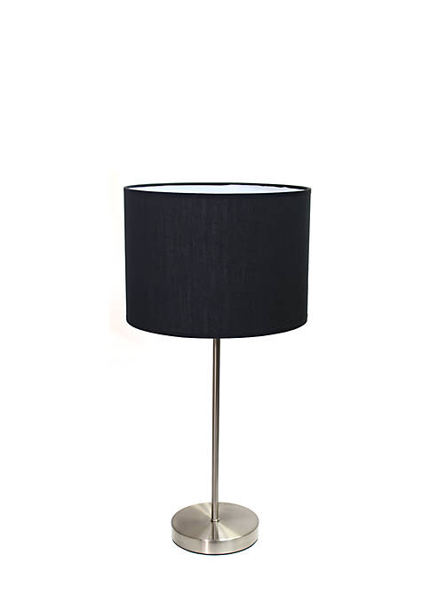 Simple Designs Brushed Nickel Stick Lamp with Fabric
