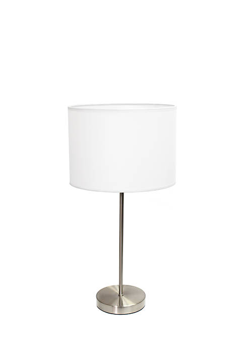 Brushed Nickel Stick Lamp with Fabric Shade