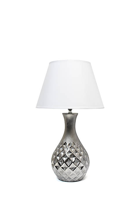 Juliet Ceramic Table Lamp with Metallic Silver Base and White Fabric Shade