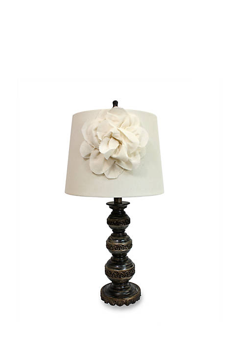 Aged Bronze Stacked Ball Lamp With Linen Flower Shade