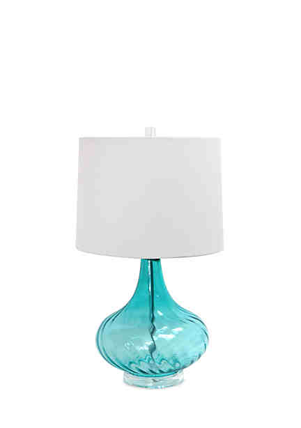 Elegant designs glass table lamp with fabric shade