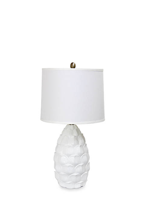 Resin Table Lamp with Fabric Shade, White