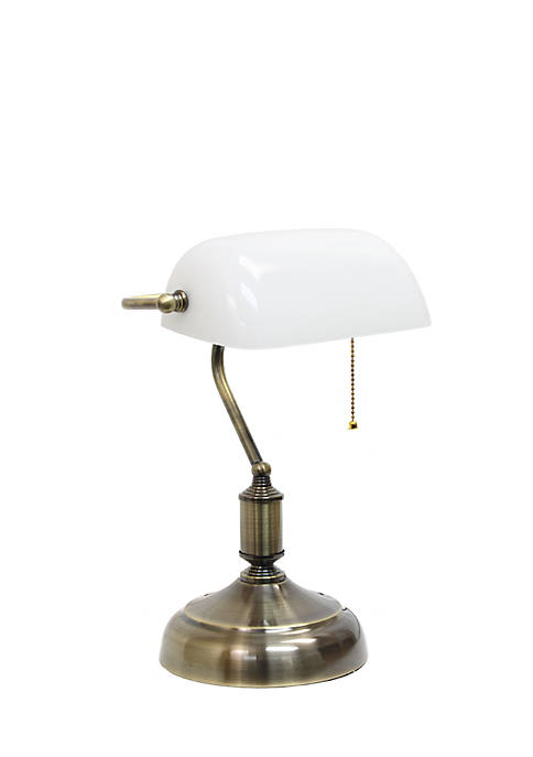 Executive Bankers Desk Lamp with Glass Shade