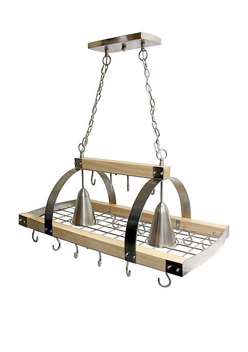 Elegant Designs 2 Light Kitchen Wood Pot Rack