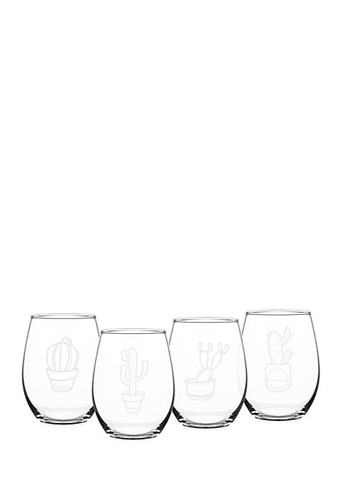 Cathy's Concepts Cactus Stemless Wine Glasses (Set of