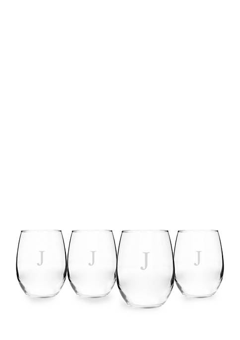 Cathy's Concepts Personalized Stemless Wine Glasses (Set of