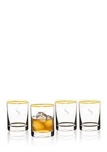 Cathy's Concepts Personalized 11 oz. Gold Rim Whiskey Glasses