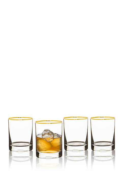 Cathy's Concepts Gold Rim 11-oz. Whiskey Glasses