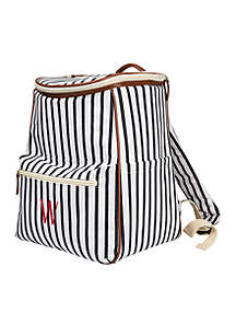 Personalized Navy Striped Backpack Cooler