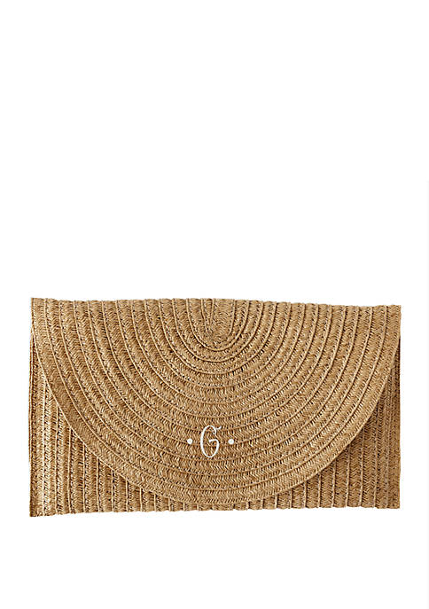 Cathy's Concepts Personalized Straw Envelope Clutch
