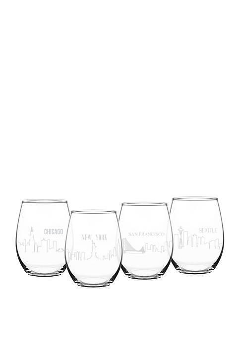Cathy's Concepts Cityscape Stemless Glasses